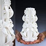 Large White Unity carved candle for Christmas gifts, Wedding candle