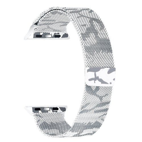 alsatek Pulsera de Acero para Apple Watch 42 mm Camuflaje Blanco