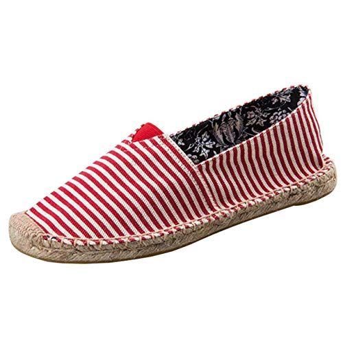 Uk Dimensione A Piatte Punta Donna 6 D colore Da Espadrillas Tonda Red RwP4Px