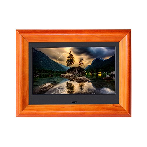 7 inch Digital Photo Frame Wooden Digital picture Frames with Widescreen LCD Calendar/Clock Function MP3 MP4 Photo Video Player with Remote Control with Wooden Frame Design