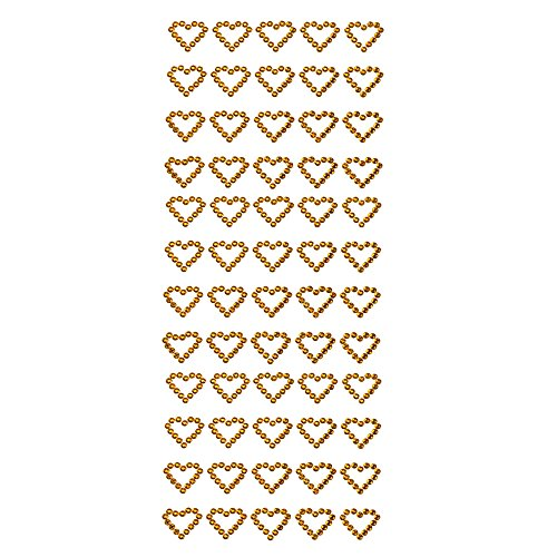 Homeford Hearts Rhinestone Stickers, 1-Inch, 60-Count (Gold)