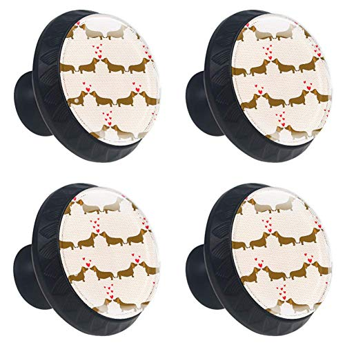 LORVIES Cartoon Dogs Dachshund Patern Drawer Knob Pull Handle Crystal Glass Circle Shape Cabinet Drawer Pulls Cupboard Knobs with Screws for Home Office Cabinet Cupboard (4 Pieces)