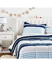 AmazonBasics Easy-Wash Microfiber Kid's Comforter and Pillow Sham Set - Full or Queen, Navy Stripes
