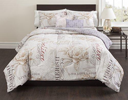 Magnolia Inspiration 5 Piece Comforter Set, Full, Floral, Ivory (Magnolia Comforter Set)