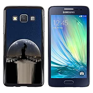Paccase / Dura PC Caso Funda Carcasa de Protección para - Moonlight Bridge Waterfall Woman Shadow - Samsung Galaxy A3 SM-A300
