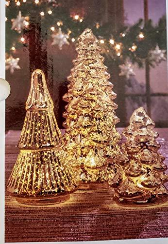 Gold Led 3 Piece Mercury Glass Christmas Tree Set with Daily Auto Timer (Glass Mercury Set)