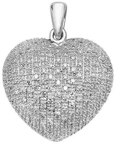 Or blanc 9carats Diamant 0,45ct Coeur Pendentif sur un collier maille jaseron