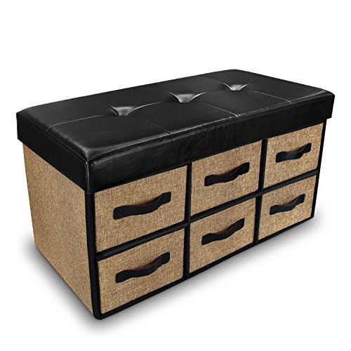 Ikee Design Folding Storage Chest Bench- Faux Leather, Linen Collapsible Foot Rest Stool Seat with 6 (Multi Functional Leather Storage Ottoman)