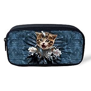 FOR U DESIGNS Cute Cat Denim Blue Picture Pencils Bag Pouch with Zipper for Kids