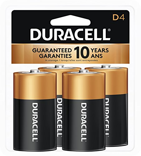 Duracell MN1300R4Z Coppertop Alkaline Batteries- D- 4/Pack