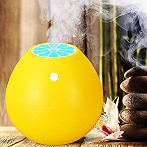 Ultrasonic Cool Mist 400ml Humidifier Grapefruit Design Travel Mini Humidifier, USB Powered Personal Portable Humidifiers Diffuser with AUTO Shut-off for Home Office Bedroom Best Gift by iCooLive
