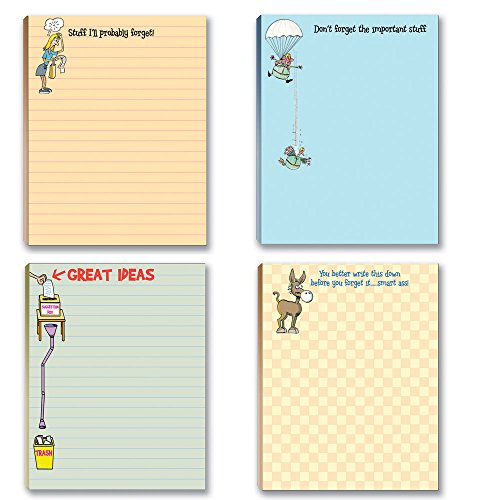 Funny To Do List Notepads Assorted Pack - 4 Pads For Your Lists - Office Notepads