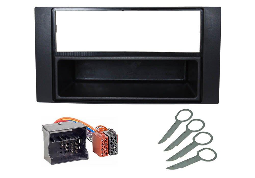 Audioproject A160 –  Auto Set per installazione Radio Ford Focus 2 C Max Transit Fiesta Fusion Kuga S max –  Mascherina radio, radio adattatore Sblocco Nero Audioproject ®