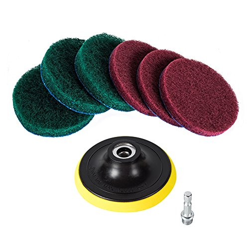 Kichwit 4 Inch Drill Power Brush Tile Scrubber Scouring Pads Cleaning Kit, Includes Drill Attachment, 3 Red Pads and 3 Stiff Green Pads, Heavy Duty Household Cleaning Tool (Drill NOT Included) (Drill Attachment Sander)