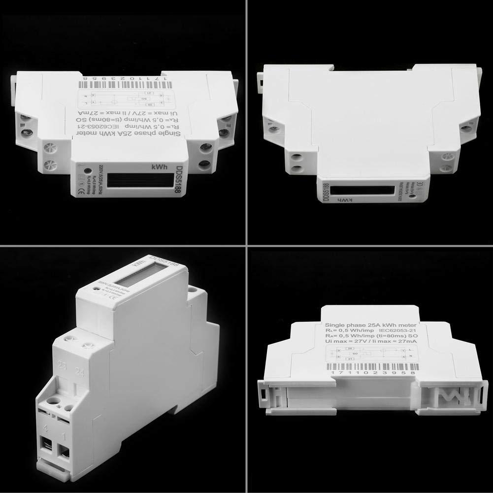 220V DDS5188 LCD Digitaler DIN-Schienen-Stromz/ähler KWh-Z/ähler 5-25A geringer Stromverbrauch//hohe Pr/äzision//Anti-Strom gestohlen Energie Energiez/ähler
