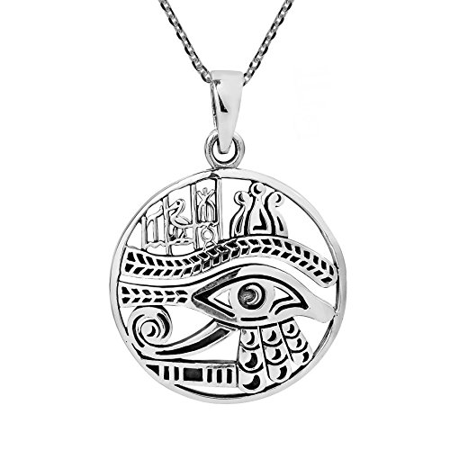 AeraVida Eye of Horus Magical Egyptian Amulet .925 Sterling Silver Necklace