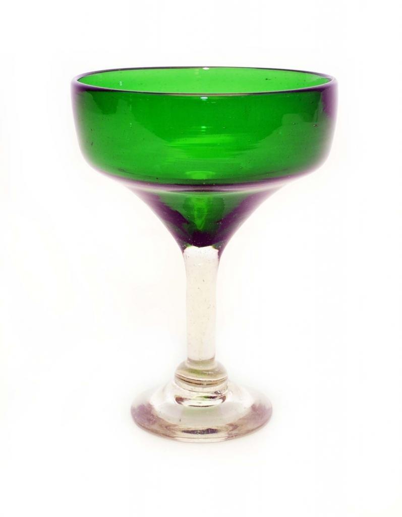 SET OF 4, EMERALD GREEN MARGARITA GLASSES, RECYCLED GLASS - 14OZ. HANDMADE.