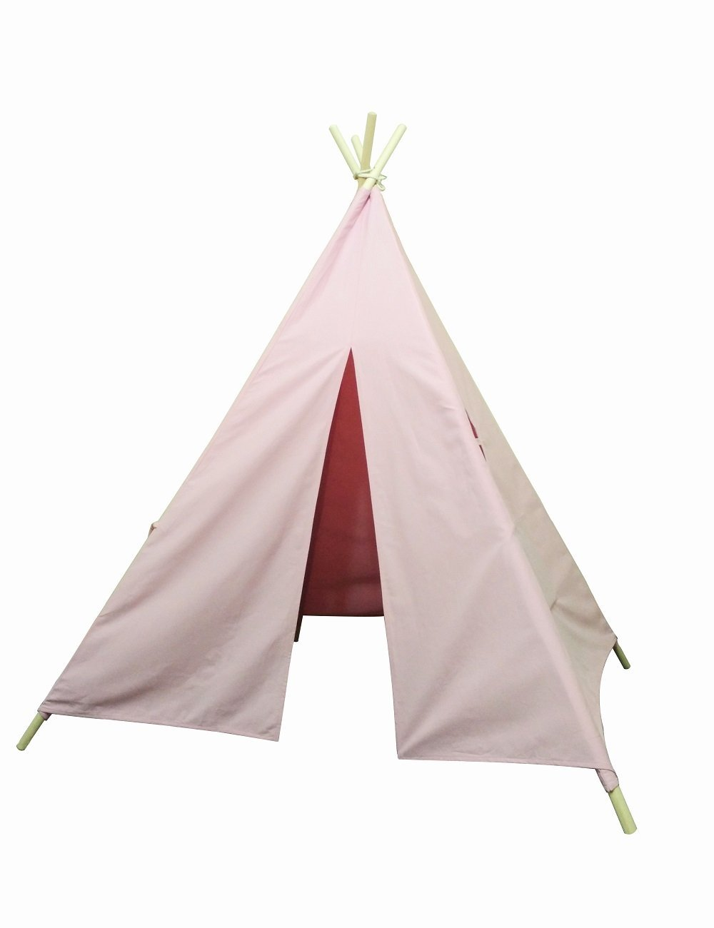 Indianertipi Baumwolle Kinder Teepee Zelt mit Fenster und 2 Verstautasche (Pink)