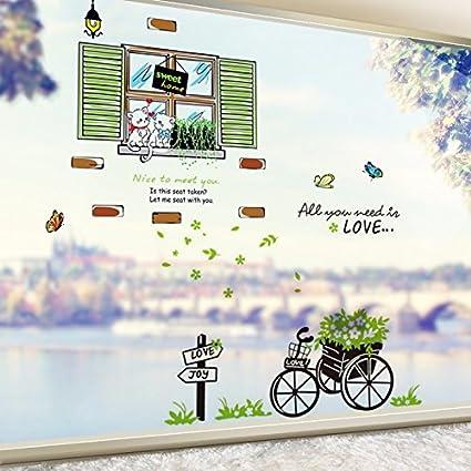 AdornHome Pegatinas de Pared Etiqueta la Pequeño Fresco Pastoral Dormitorio sofá Vida habitación Fondo decoración Autoadhesivo