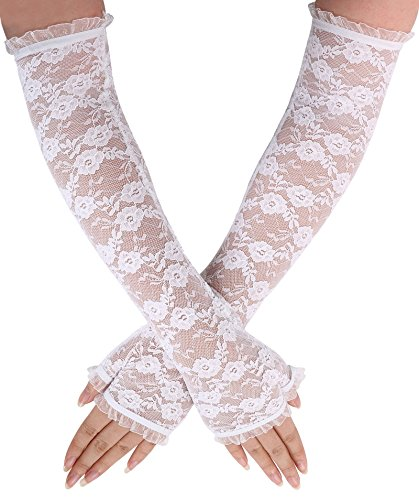 Floral Lace Elbow Length Ruffle Fingerless Gloves - White