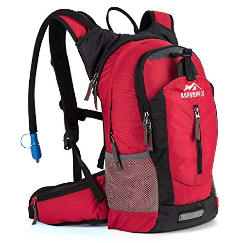 (RUPUMPACK Insulated Hydration Backpack Pack with 2.5L BPA Free Bladder, Lightweight Daypack Water Backpack for Hiking Running Cycling Camping, School Commuter, Fits Men, Women, Kids, 18L Red)