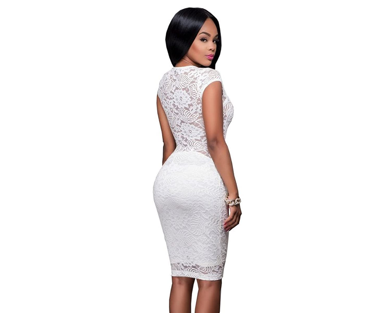 Carolina Dress Vestidos Ropa De Moda Para Mujer De Fiesta Casuales Largos Blancos Sexys De Encaje y Noche Elegantes VE0034 at Amazon Womens Clothing store: