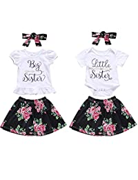 Puseky Baby Girls Little Big Sister Matching Outfits Short Sleeve Shirt + Floral Skirt Set (Color : White, Size : Big Sister-4Y-5Y)