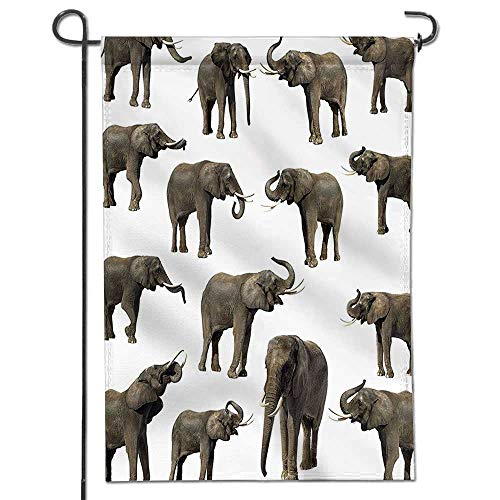 Mikihome Celebrate Patriotic Garden Flag Group of Elephants Tusk Ear Large Wild Life Jungle Mammal Forest Decorating Decorative Double Sided Flag for Anniversary Decor