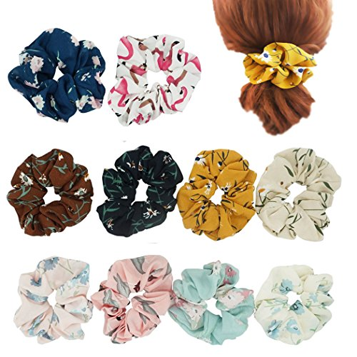 Hixixi 10Pcs Women Girls Chiffon Flowers Flamingos Large Hair Scrunchie Hair Bow Elastics Ponytail Holder(Flowers)