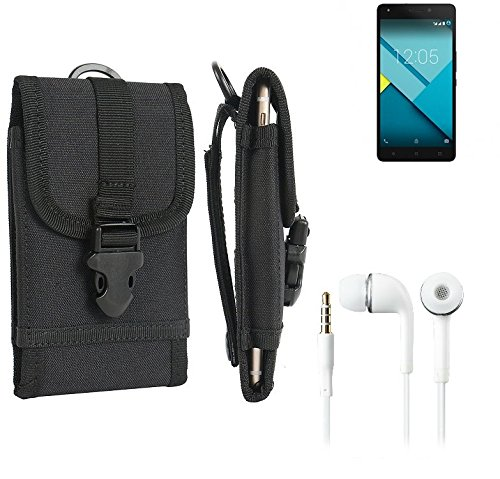 bolsa del cinturón / funda para BQ Readers Aquaris M5.5, negro + Auriculares | caja del teléfono cubierta protectora bolso - K-S-Trade (TM)