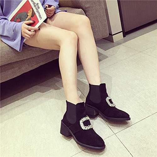 KPHY Damenschuhe Slim - Stiefel Mit Hohen 7Cm, Kurze Stiefel, Englischen, Englischen, Stiefel, Schwarzen, Grob Hacken. 8bb28d