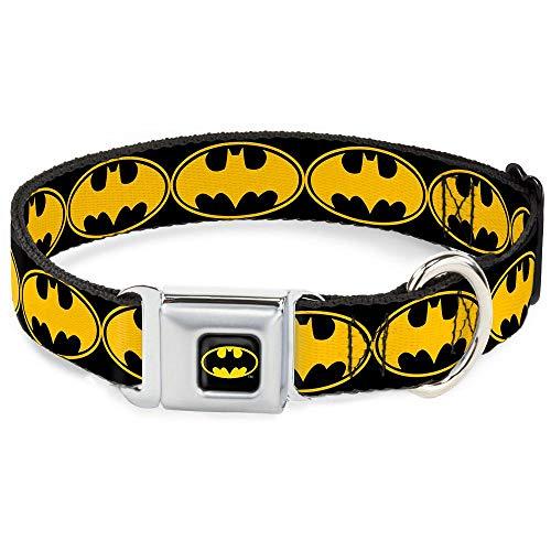 "Buckle Down Seatbelt Buckle Dog Collar - Bat Signal-3 Black/Yellow/Black - 1.5"" Wide - Fits 18-32"" Neck - Large"