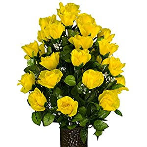 Yellow Open Roses, featuring the Stay-In-The-Vase Design(C) Flower Holder (MD2001) 78