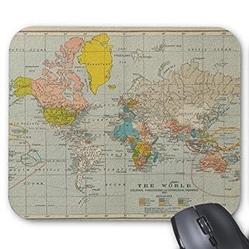 Vintage World Map 1910 Mauspad 25 x 20 cm: Amazon.de: Bürobedarf ...