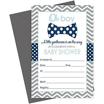 Amazon 50 mustache oh boy baby shower invitations and bow tie baby shower invitations fill in set of 15 with envelopes navy grey filmwisefo
