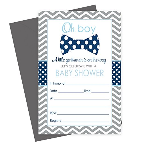 Bow Tie Baby Shower Invitations (Fill in) Set of 15 with Envelopes Navy & Grey]()