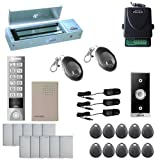 Visionis FPC-5656 One Door Access Control Outswinging Door 1200lbs Maglock with VIS-3005 Outdoor Weatherproof Metal Touch Slim Keypad/Reader Standalone No Software 2000 User with Wireless Receiver Kit