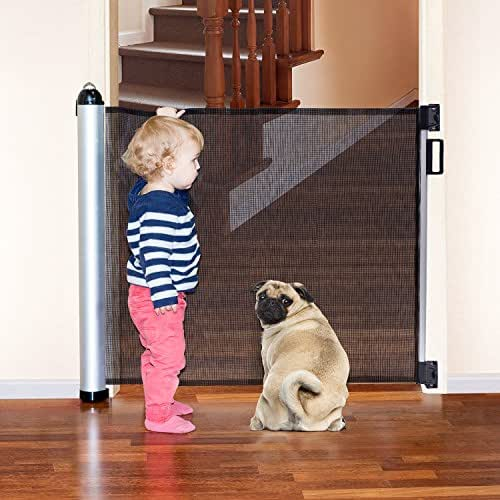 Tatkraft Mom Retractable Baby Safety Gate for Doorways, Stairs and More Adjustable Length Walk Through Gate Dimension 3.1 to 55.1X34.6X3.1