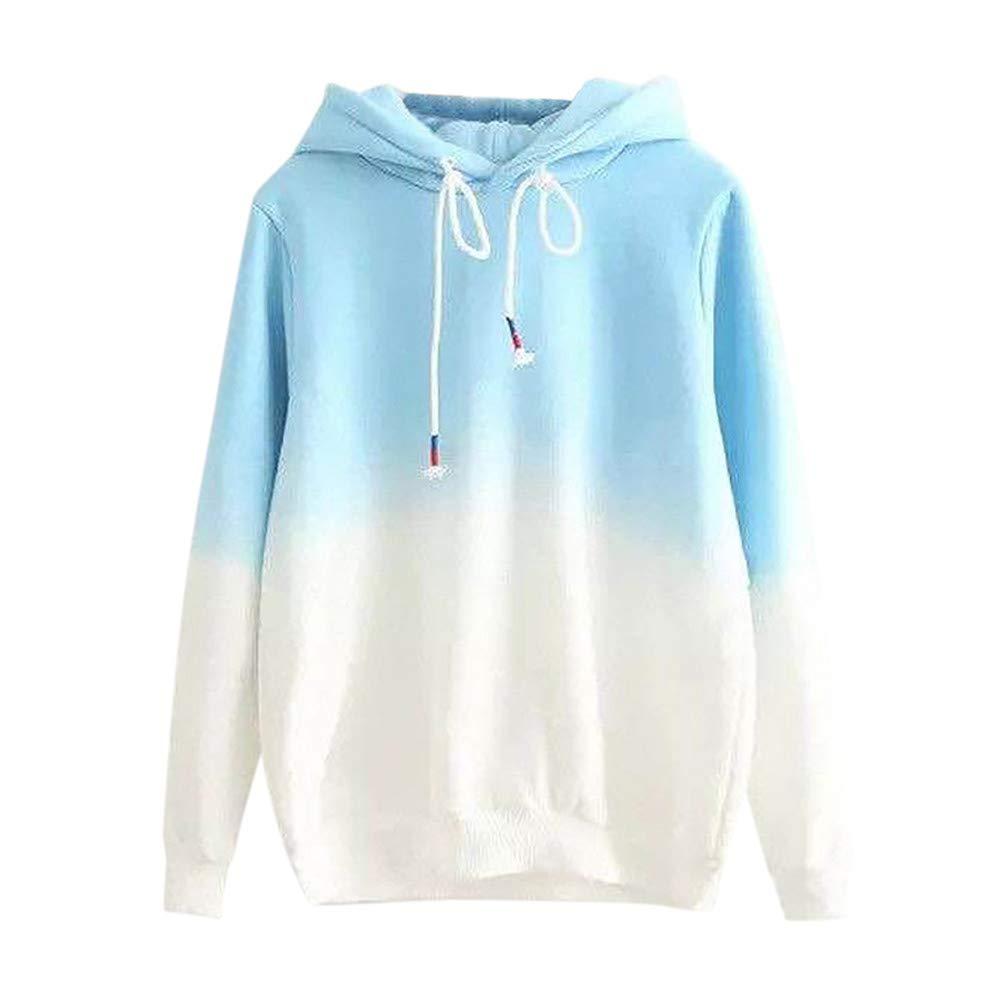 Auifor Womens Casual Autumn Long Sleeve Hooded Gradient Print Sweatshirt Blue