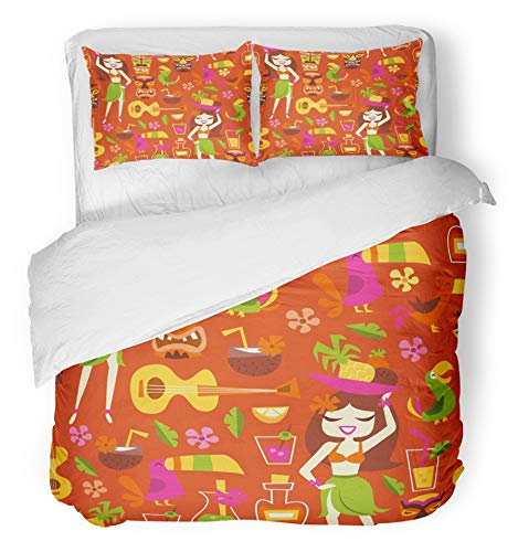 Emvency 3 Piece Duvet Cover Set Brushed Microfiber Fabric Breathable Tiki of 1960S Retro Inspired Cute Hawaiian Luau Party Cocktail Bar Hula Lemon Bedding Set with 2 Pillow Covers Twin Size - Retro Hawaiian Fabric