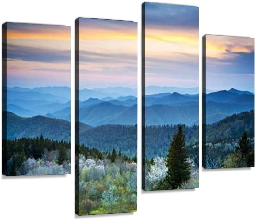 YKing1 Scenic Blue Ridge Parkway Appalachians Smoky Mountains Spring Landscape Wall Art Painting Pictures Print On Canvas Stretched & Framed Artworks Modern Hanging Posters Home Decor 4PANEL