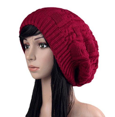 77f7697b62c Fengtre Women s Winter Knit Chunky Ribbed Slouch Pull Back Ski Skully Skull Slouchy  Beanie Warm Hat