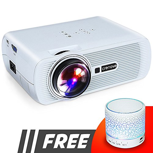 Crenova XPE460 video projector with 180' display, Full HD 1080P mini projector compatible with Fire TV Stick, Laptops, Games and iPhone/Android Smartphones for Home Theater