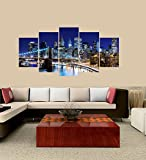 PEACOCK JEWELS Premium Quality Canvas Printed Wall Art Poster 5 Pieces / 5 Pannel Wall Decor Skyline of Downtown New York Painting, Home Decor Pictures - with Wooden Frame