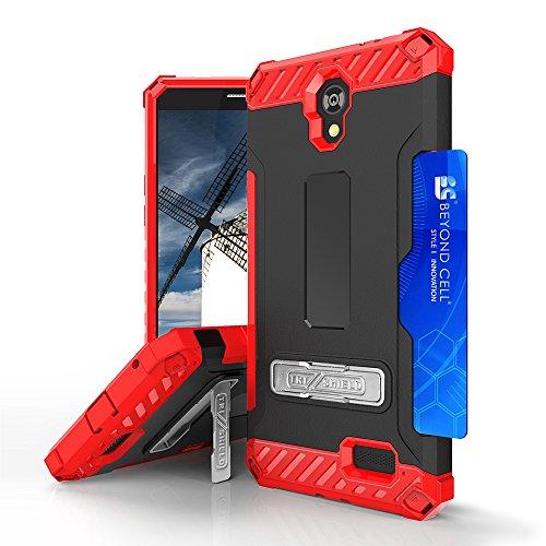 For ZTE PRESTIGE N9132, ZFIVE 2 Z836, AVID TRIO Z833, SONATA 3 Z832, MAVEN 2 Z831, AVID PLUS Z828 TRI-SHIELD RUGGED KICKSTAND CASE + BELT CLIP HOLSTER [CREDIT CARD SLOT & LANYARD] (Red Black) by customerfirst