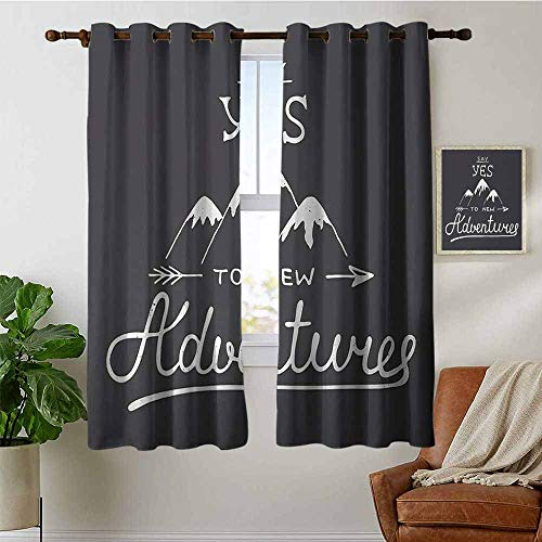 petpany Window Curtain Fabric Adventure,Say Yes to New Adventures Typographic Quote with Scribble Mountains,Charcoal Grey and White,Rod Pocket Curtain Panels for Bedroom & Living Room 42