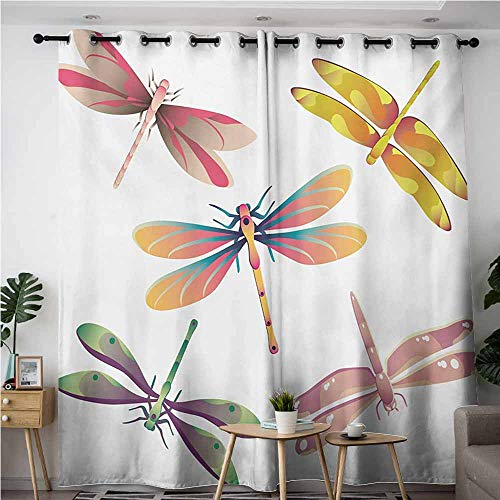 AndyTours Kids Curtains,Dragonfly,Five Spiritual Bugs in Modern Abstract Pattern Natural Beauty Artistic Motif,Grommet Curtains for Bedroom,W84x108L,Multicolor -
