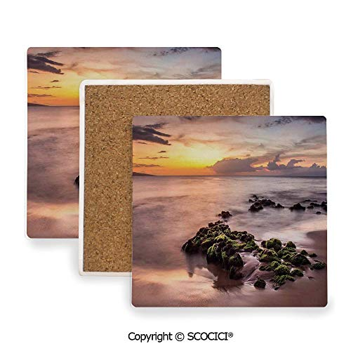 Ceramic Coasters with Cork Base, Prevent Furniture from Dirty and Scratched, Suitable for Kinds of Mugs and Cups,Seaside Decor,Wailea Maui Sunset Warm Sunlight Dark Clouds,3.9