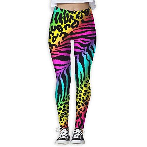WOOIbv Rainbow Animal Zebra Print Women Yoga Pants Workout Running Leggings