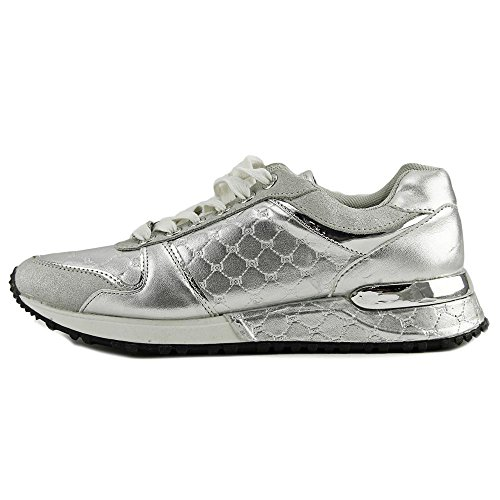 Silver Womens Bebe Low Sneakers Up Fashion Top Leather Fx Racer Lace zaF7qwZ